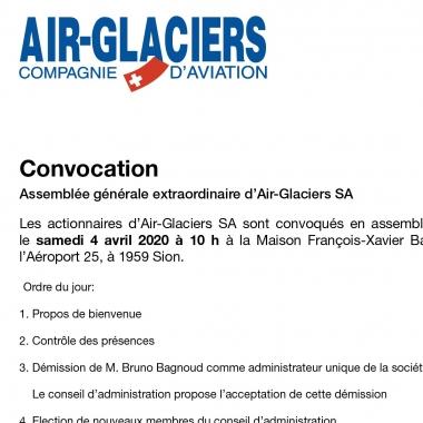 Avis aux actionnaires d'Air-Glaciers SA